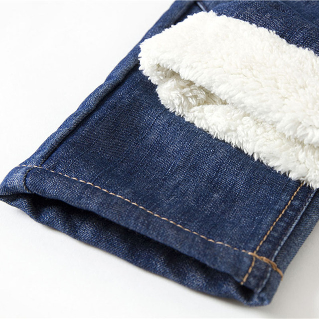 Warm Winter Jeans for Boys with Elastic Waist