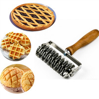 Stainless steel Embossing Dough Roller Dough Cookie Pie Pizza Pastry Lattice Roller Cutter Baking Tool