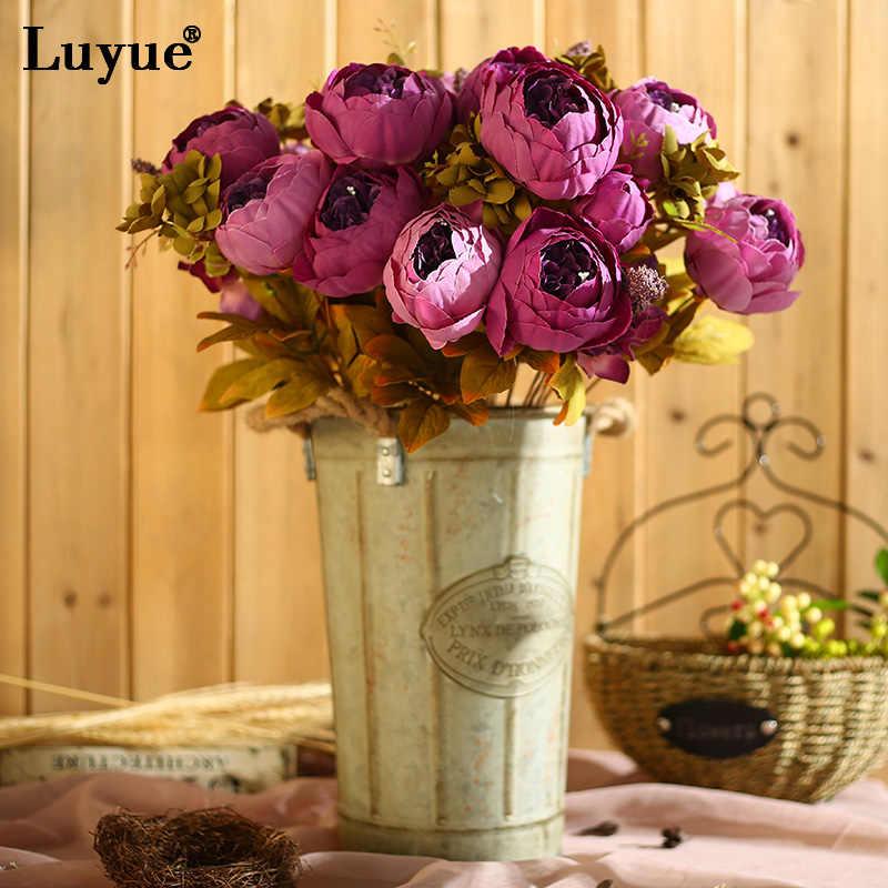 Luyue الزهور الاصطناعية الزفاف خمر الأوروبية الفاوانيا إكليل الحرير وهمية الزهور رؤساء المنزل مهرجان الديكور 13 فروع المنزل