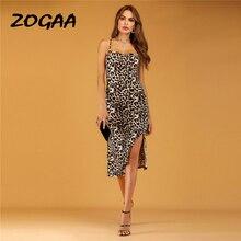 ZOGAA Women Sexy Summer Leopard Print Dresses Sleeveless Halter Split Dress Slim Party Beach Holiday Vestidos De Fiesta
