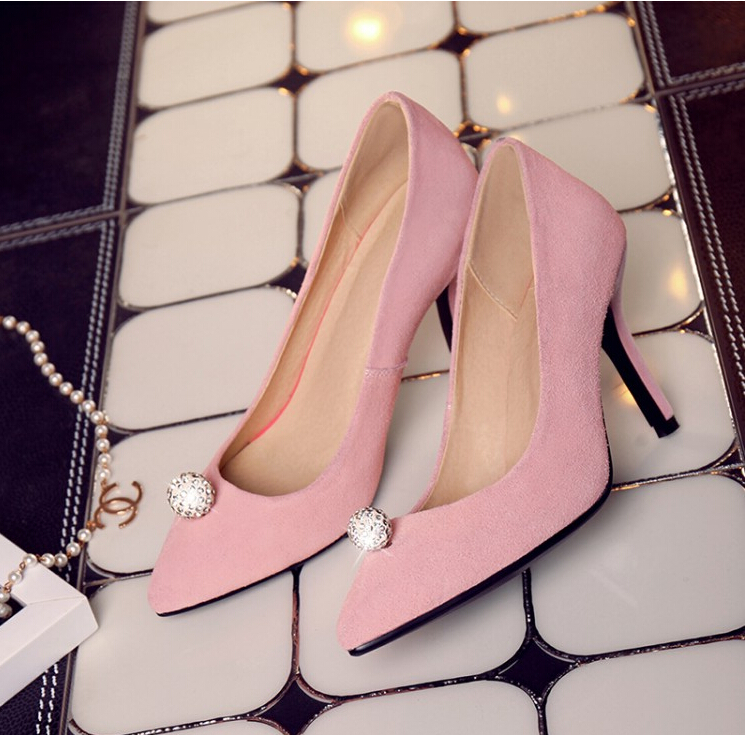 2016 Sexy Flock Pumps Charm Women Pumps Pointed Toe Thin High Heels Shoes Woman Big Size 32-43 Fashion Shallow Women Shoes bowknot pointed toe women pumps flock leather woman thin high heels wedding shoes 2017 new fashion shoes plus size 41 42