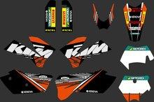 0270 orange & schwarz new team grafiken mit passenden hintergründe fit für sxf mxc sx exc serie 2005 2006 2007