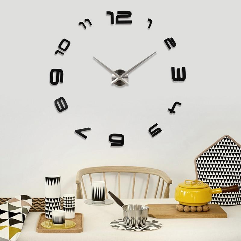 2016 new quartz 3d diy wall clocks home decorations acrylic mirror