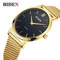 Marca de Lujo Ultra-delgado impermeable Banda De Malla De Acero Inoxidable relojes de los hombres Reloj de Oro Reloj de cuarzo Relogio masculino