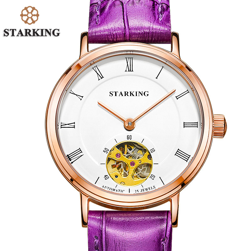 STARKING New Skeleton Automatic Mechanical Watch Women Dress Style Fashion Luxury Purple Leather Clock Women Vintage Timepieces