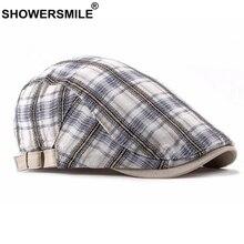 SHOWERSMILE Women Flat Cap Summer Plaid Duckbill White Vintage Unisex Casual British Cotton Adjustable Ivy Mens Beret Hat