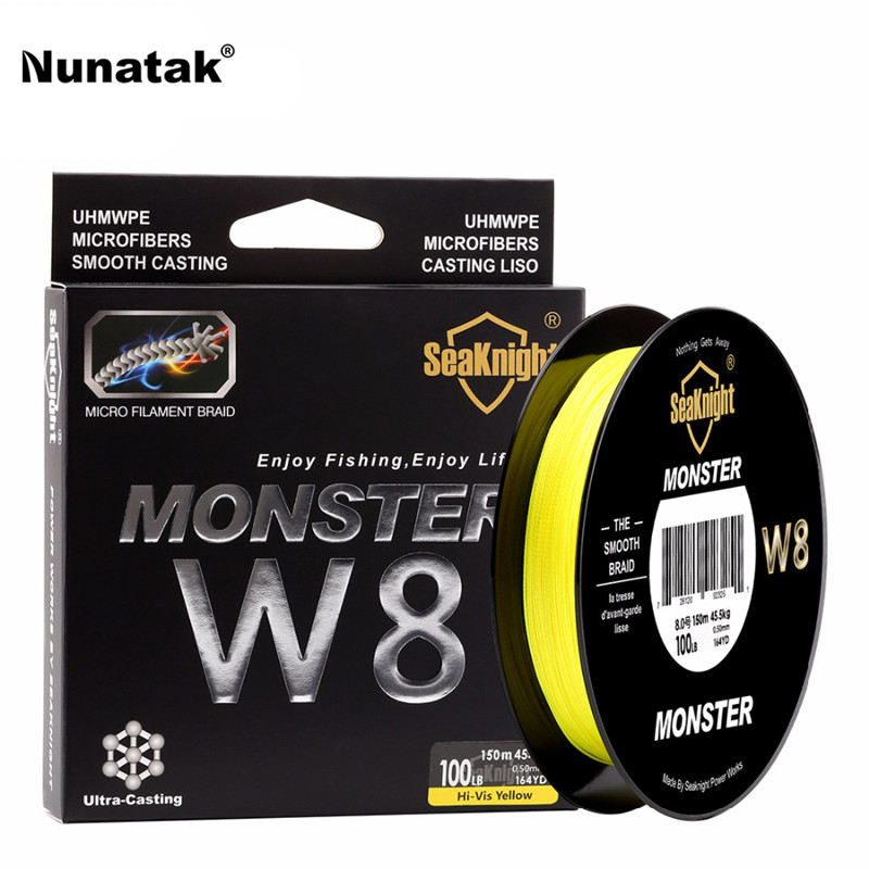 Seaknight 150 m monster w8 fishing line braided pe multifilament line 8 stands soft line fabrics for sea fishing 20-100lb