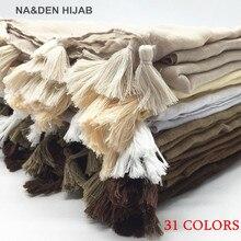 Женский хиджаб с кисточками, шаль, Простой макси шарф, модный кулон, шали, женские мусульманские хиджабы, шарфы, мягкий платок, 1 шт., 31 цвет