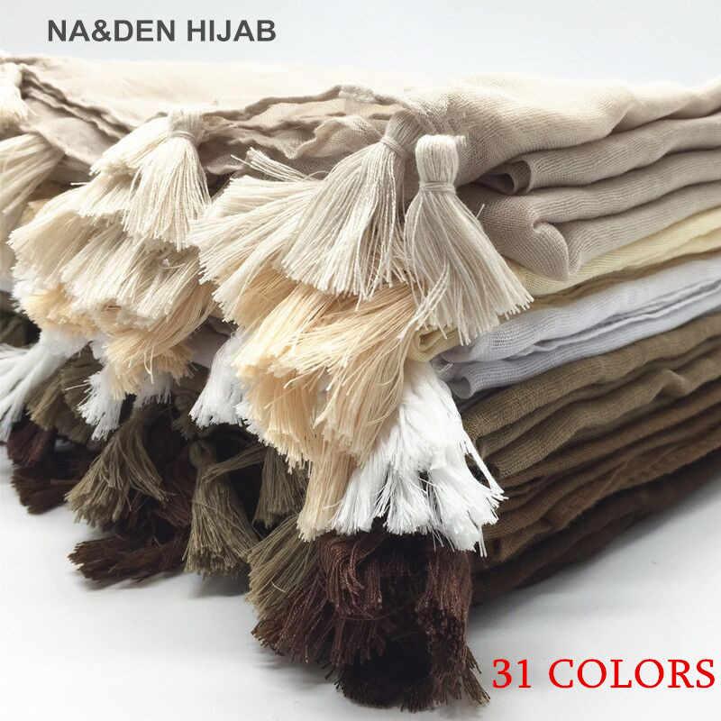 Phụ Nữ Tua Rua Hijab Khăn Choàng Đồng Bằng Maxi Khăn Mặt Dây Chuyền Thời Trang Khăn Choàng Nữ Hồi Giáo Hijabs Scarfs Mềm Foulard 1 PC 31 màu Sắc