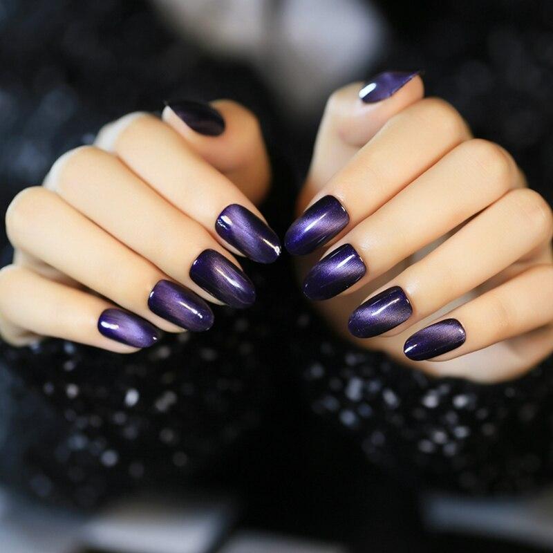 My Top 10 And Top 5 Nail Artists Who: 24 Pcspopular Fake Nail Tips Grape Purple Cat Eyes False