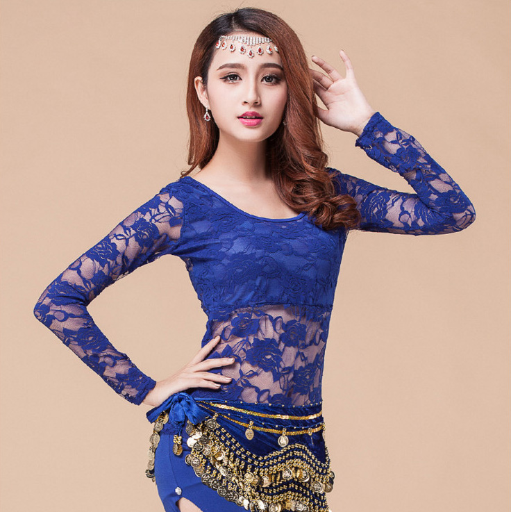 Sexy Lace Long Sleeve Belly Eastern Oriental Dance Top Shirt Costumes For Sale Women Belly Dancing Clothes Bellydance Clothing