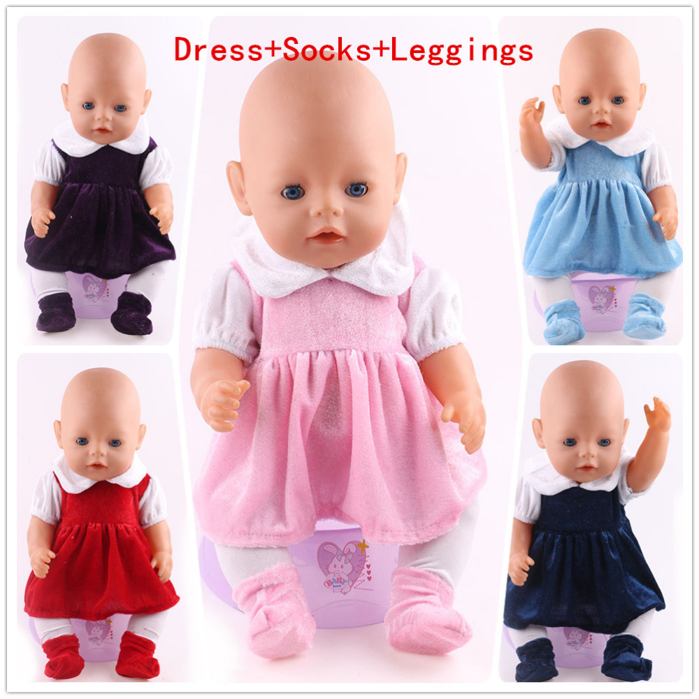 5 kinds of different colors of hand made 43cm newborn babys Zapf dolls clothes, doll accessories, random transmission