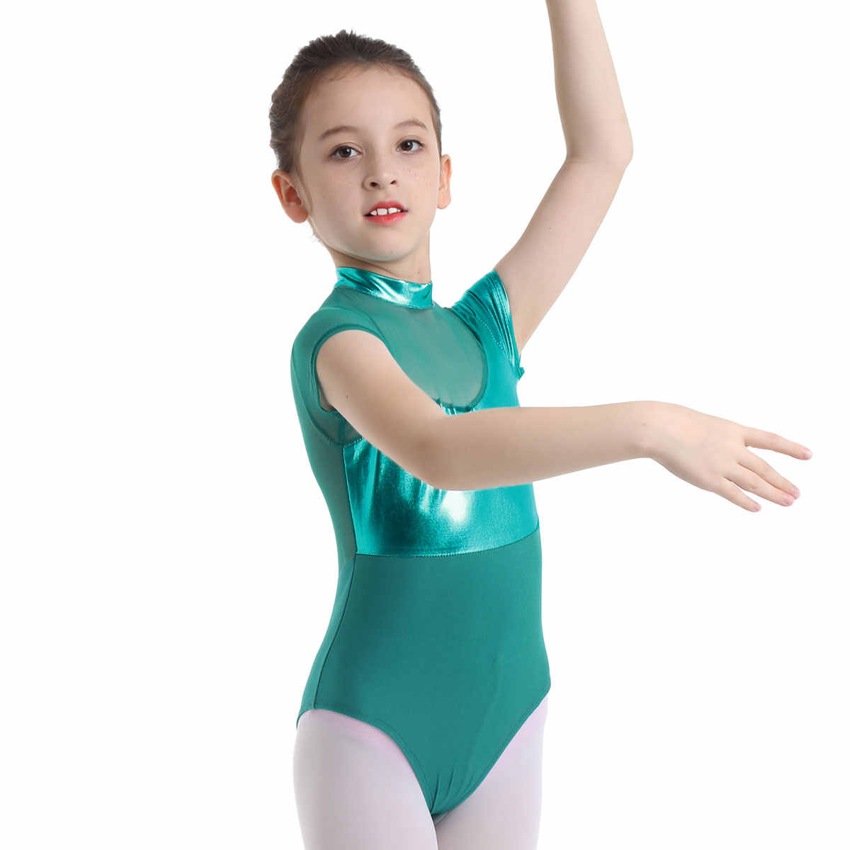 73bcdf32ece ... Kids Girls Gymnastic Swimsuit for Dancing Ballet Leotard Dance Leotard  Girls Mock Neck Shiny Metallic Mesh ...