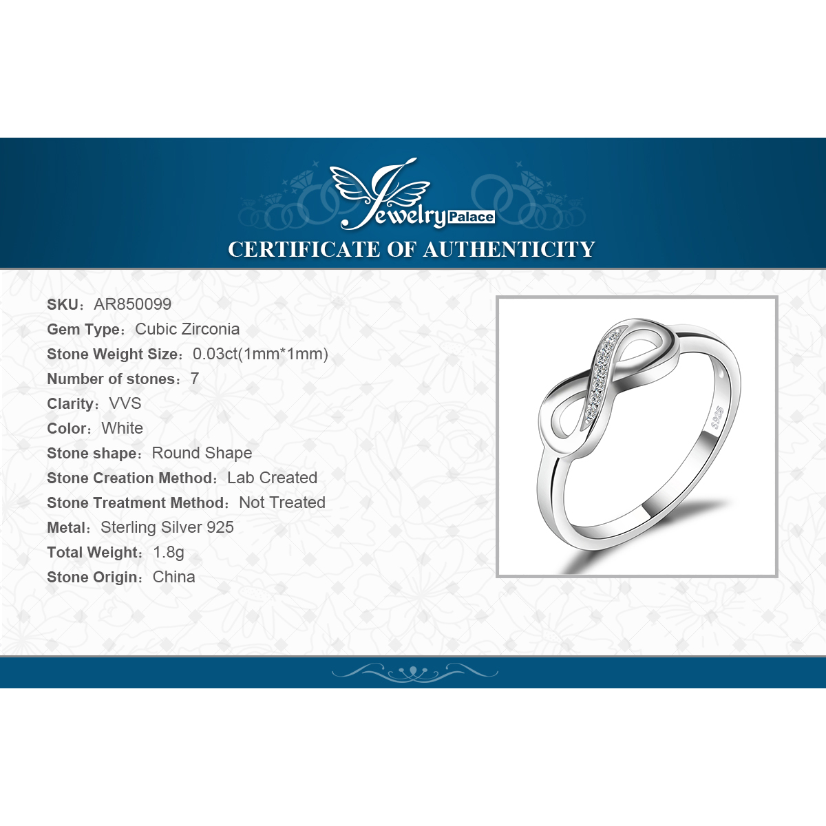 Купить с кэшбэком JewelryPalace Infinity Anniversary Cubic Zirconia Rings 925 Sterling Silver Rings for Women Silver 925 Jewelry Fine Jewelry