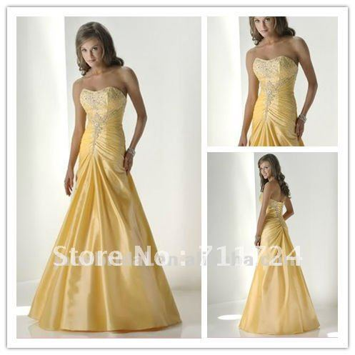 Elegant Pale Yellow And White Baeding Taffeta Corset Wedding Dresses