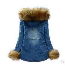 casacos femininos women long section rabbit fur Hooded Jeans Jacket lady winter thick cotton padded denim coat S623