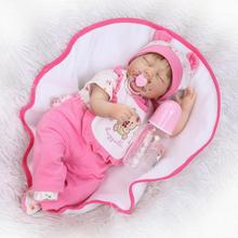 Nicery 22inch 55cm Reborn Baby Doll Magnetic Soft Silicone Lifelike Girl Toy Gift for Children Christmas Pink Bear Hat