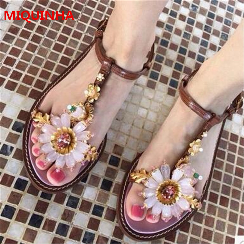 цена  2017 New Hot Selling Women Sandals Shoes Brown Open Round Toe T-tied Crystal Sun Flowers Gladiator Summer Casual Womens Sandals  онлайн в 2017 году