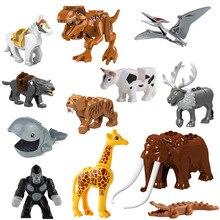 Животные Строительные блоки Кирпич Мамонт орангутанг Тигр динозавр лося лошадь, волк мини-фигурка игрушка для детей Совместимость с lego