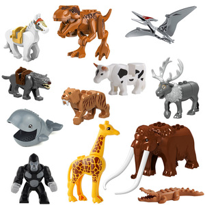 Animal Building Blocks Brick Mammoth Orangutan Tiger Dinosaur Elk Wolf Horse Mini Figure Toy for Children compatible with(China)