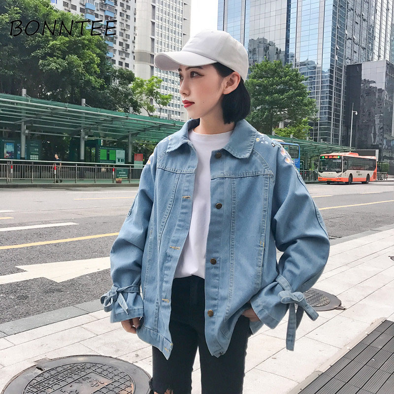 Women New Denim Bow Embroidery Floral All-match Chic Loose   Basic     Jackets   Womens Fashion Korean Style Casual Single Breasted Cute