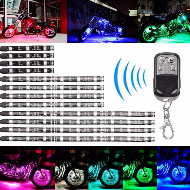 1set MultiColor Glow Neon Wireless Remote Motorcycle 5050 LED Flashing Light 12 Strips