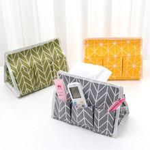 1pc Simple Cotton Linen Tissue Box Towel Napkin Dispenser Storage Bag Paper Holder Cover Case Home Car Desktop Organizer