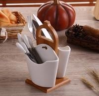 Stylish Ceramic Flatware Organizer Decorative Bamboo Chopsticks Canister Dinnerware Essentials Kit Untensil Ornament Accessories