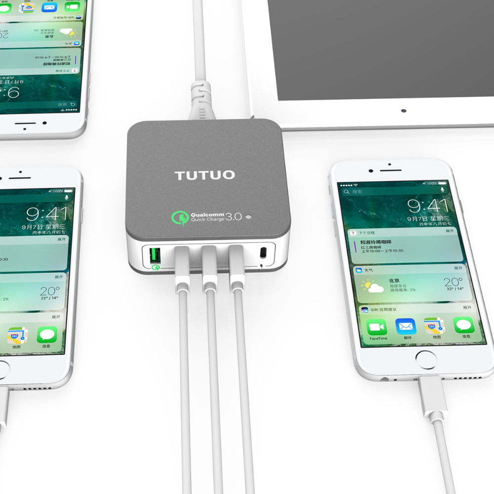 TUTUO 020PT Quick Charge 3.0 +USB C Fast Smart Type-C 40W Power Travel Desktop USB Charger for iPhone/Macbook/Android Power bank