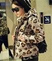 2016 Зимняя Мода Леопарда Женщин Куртка Молнии Мягкий Дамы короткий Тонкий Капюшоном Пальто