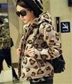 2016 Winter Fashion Leopard Mujeres Chaqueta con Cremallera Acolchado Damas corto Delgado Con Capucha Abrigos