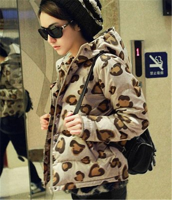 2016 Winter Fashion Leopard Women Jacket Zipper Padded  Ladies short Slim Hooded Coats