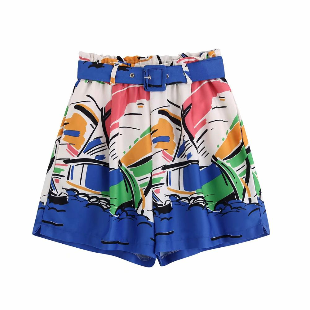 2019 Women Fashion Color Matching Printing Sashes Shorts Ladies Elastic Waist Short Pants Chic Holiday Pantalones Cortos P514