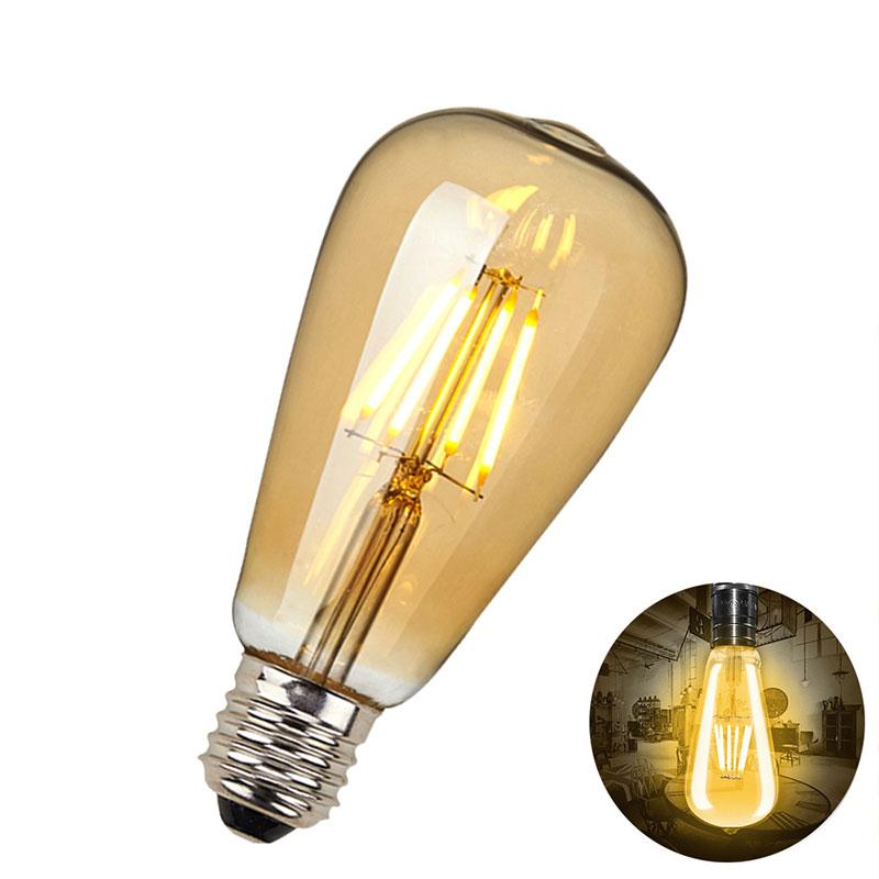 Mabor E27 ST64 6W LED Bulb Edison COB Light Lamp with Water Drop Gold Yellow Festoon Light Bulbs