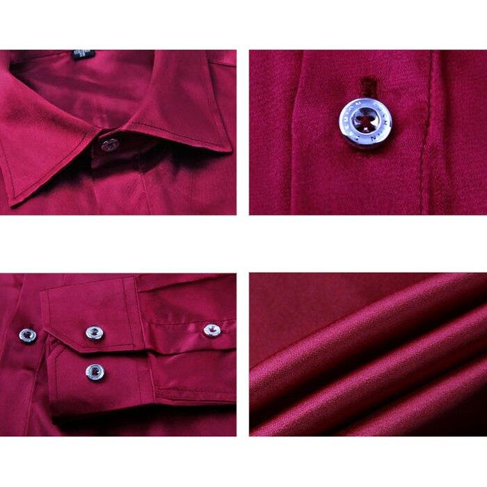 Досуг мужская Одежда высококачественная Эмуляция Шелковые Рубашки С Длинным Рукавом мужская Повседневная Рубашка Блестящий Атласная Красная Роза м