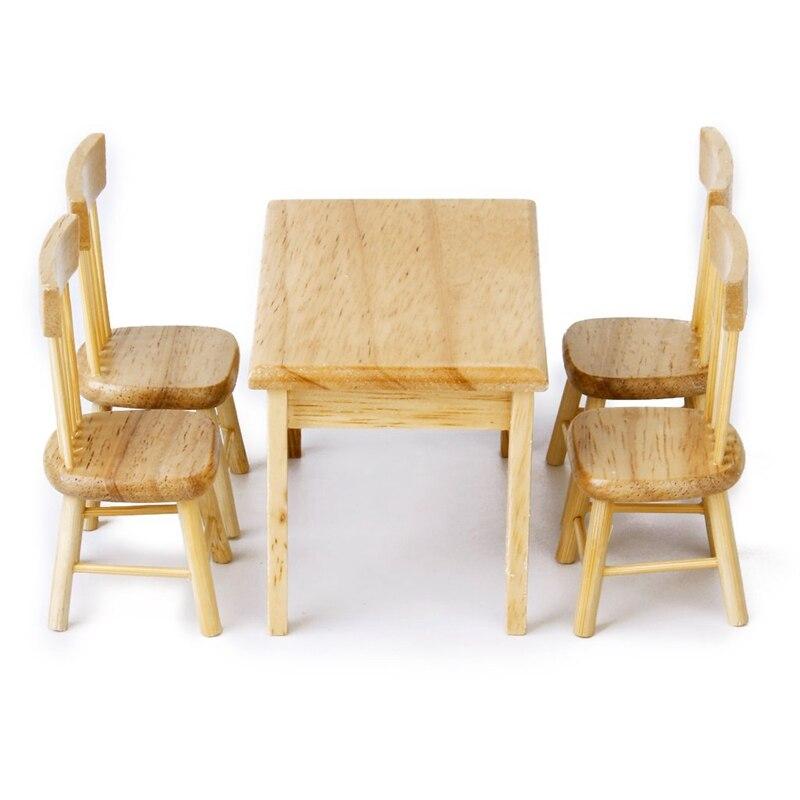 5 PCs 1 12 Doll House Mini Wood Color Square Dinette Table