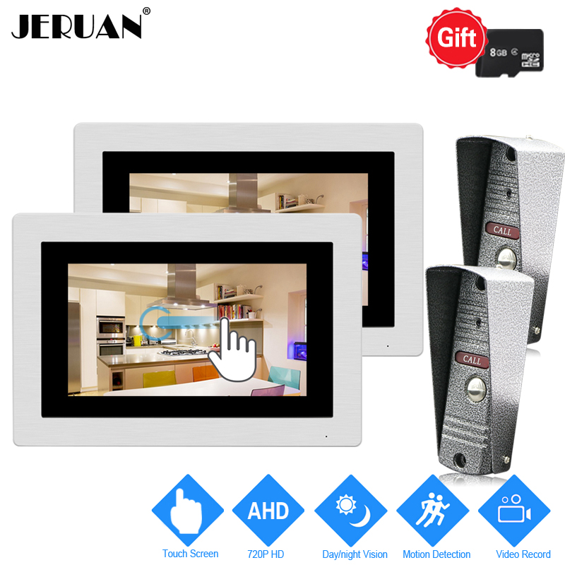 JERUAN 1.0MP 720P AHD Motion Detection 7 inch Touch Screen Video Doorbell Intercom System 2 Record Monitors +2 HD IR Mini Camera jeruan 720p ahd motion detection 7 touch screen video door phone doorbell intercom system 2 record monitor hd ir mini camera