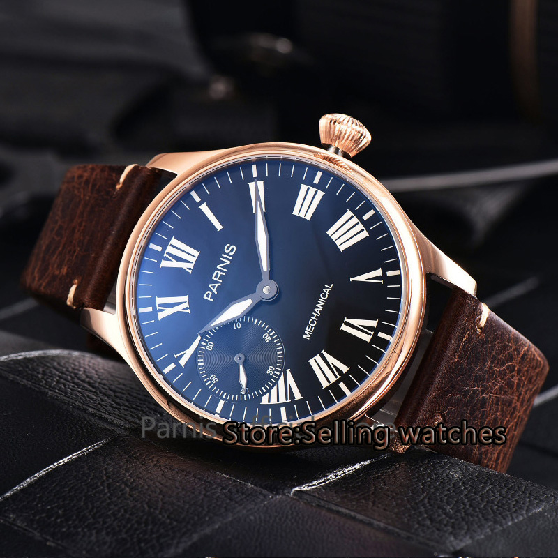 Parnis 44mm black Dial Rose gold case Seagull st36 Mechanical Hand Winding Mens 6497 Watch 44mm parnis rose gold case black dial blue luminous 6497 movement hand winding mens watch