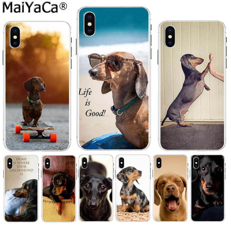 MaiYaCa かわいい動物ダックス犬子犬超薄型漫画のパターン電話ケース iphone 8 7 6 6S プラス X XS 最大 5 5S 、 SE XR カバー