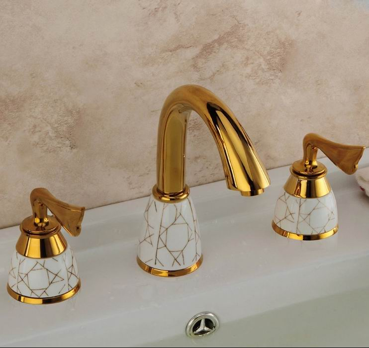 Free Shipping Brass Gold Deck Mounted Three Holes Waterfall Basin Sink Faucet Dual Handle Long Neck Bathroom Basin Sink Faucet fashion high quality brass bathroom widespread basin faucet double handle gold plating sink faucet free shipping