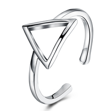 New 925 Triangle Ring Hollow Out Flower Silver Color Plating Open Finger Ring Nice ACC Jewelry for Women Friend Christmas Gift