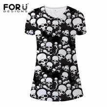 FORUDESIGNS Summer Dress 2017 Fashion Women Dresses Vestidos Cool Black and White Skull Printing Party Beach Mini V