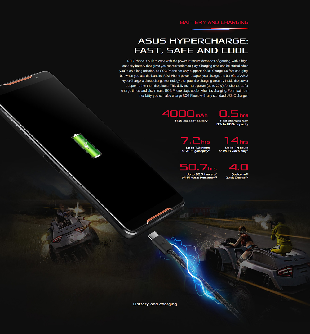 "ASUS ROG Telephone ZS600KL 8GB RAM 128GB ROM Gaming Phone Snapdragon 845 2.96GHz 6.0""18:9 AMOLED Screen Android8.1 4000mAh OTA 54"
