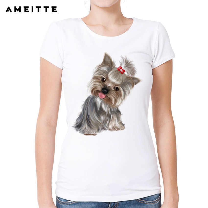 Ameitte Schattige Yorkshire Terrier/Shih Tzu T-shirt Vrouwen Customied Puppy Honden Print T-shirt Zomer Vrouwelijke Hipster Tops Tee