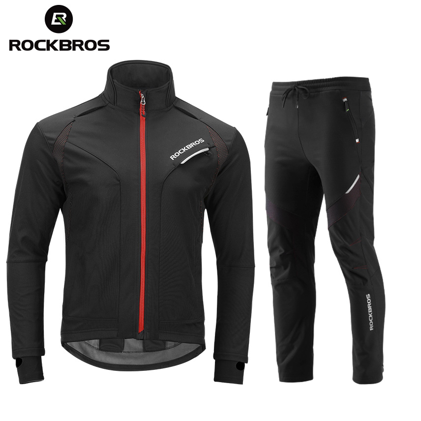 цена на ROCKBROS Long sleeve Cycling Sets Winter Thermal Fleece Jersey Windproof Reflective Jacket Bicycle Sportswear Cycling Clothings