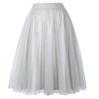 Quality 4 Layers Fashion Tulle Skirt High Waist Pleated TUTU Skirts Womens Lolita Petticoat Bridesmaids Midi Skirts Jupe Saias