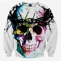 Harajuku Skull fashion men's 3d sweatshirt printed tree head ring skull hip hop hoodies long sleeve autumn tops