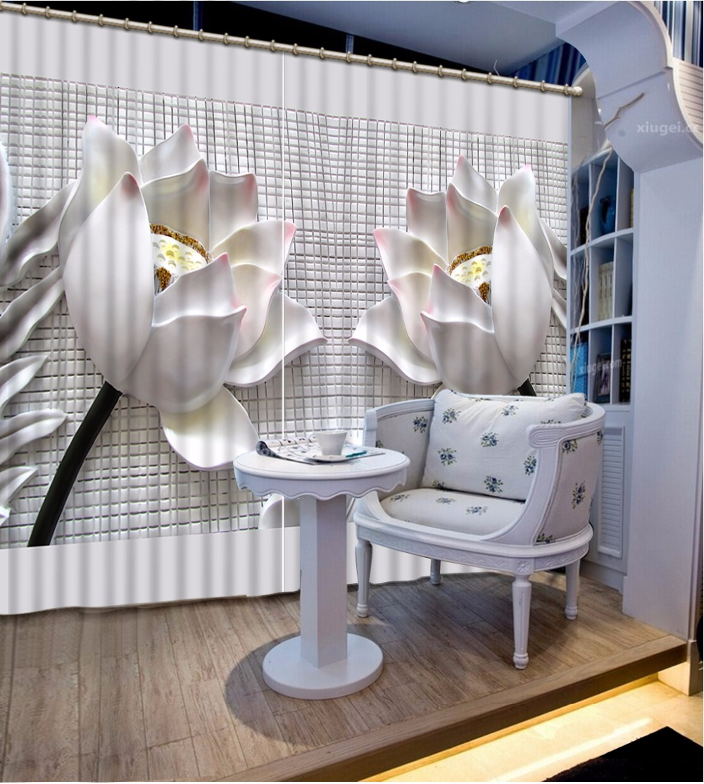 Us 64 5 57 Off European Style Large 3d Curtains Two Lotus Design Curtains Drapes The Living Room Bedroom Elegant Beautiful Window Curtain In