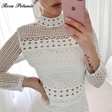 Winter 2018 New Sexy White Lace Dress Women's High Quality long Sleeve Embroidery Cutout Elegant Dress Hollow Out Vestidos