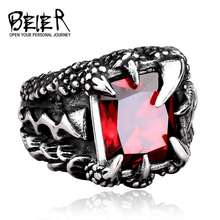 Cool Dragon Claw Ring With Red/Blue/Black Stone Stainless Steel Man's Hiqh Quality Jewelry Wholesale Price BR8-178